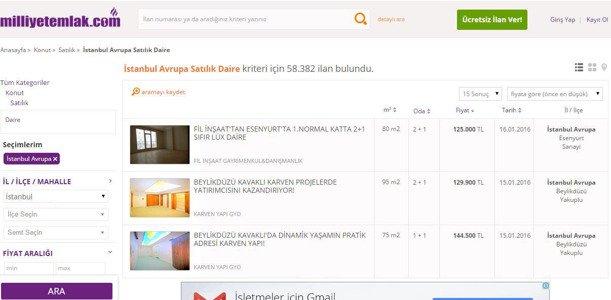milliyetemlak.com İstanbul'da ki en ucuz ev ilanı