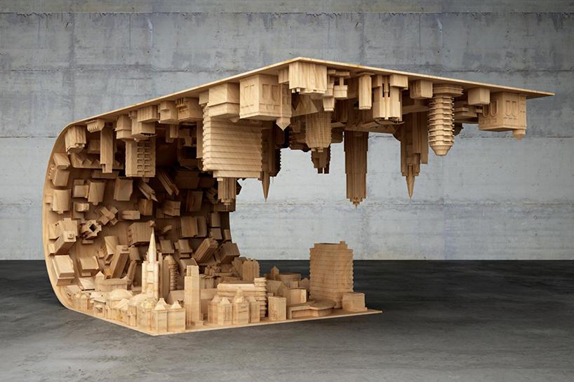 3D baskı ile ahşap kahve masası