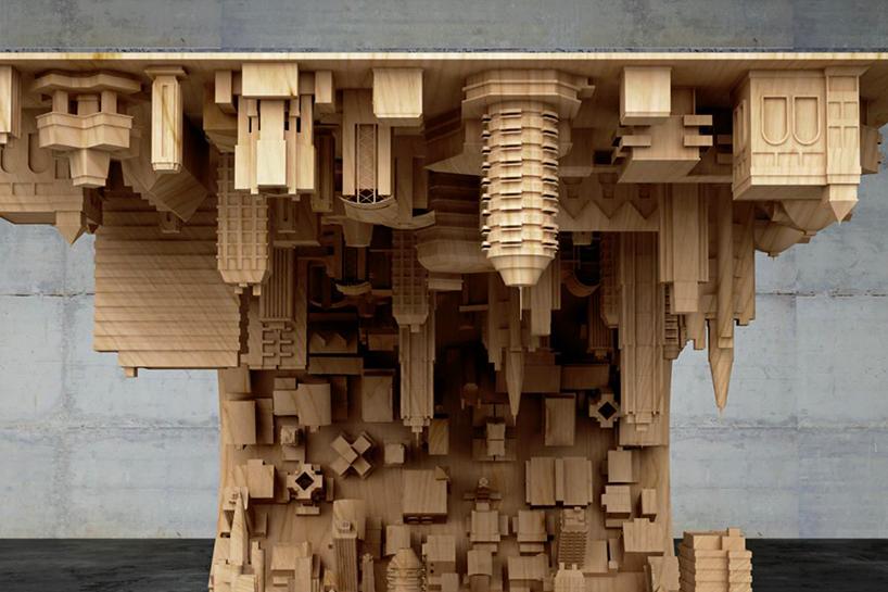 3D baskı ters dönmüş şehir, masa tasarımı