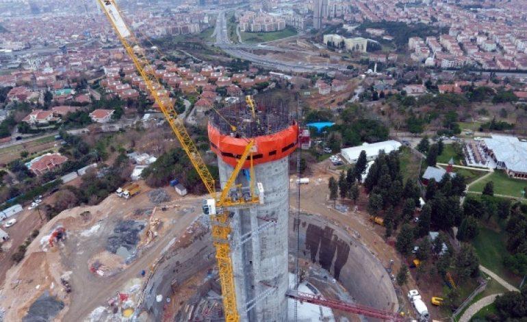 Çamlıca'daki TV kulesinin inşaatı yükseliyor
