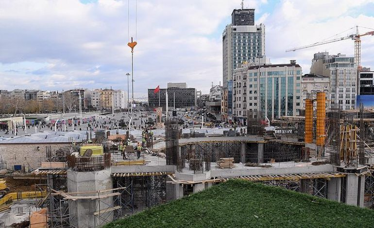 Taksim'e yapılan caminin ana taşıyıcıları tamamlandı