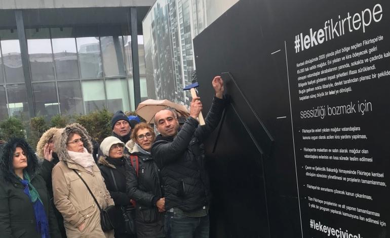 """Fikirtepe Kentsel Dönüşüm mağduru hak sahiplerinden sanatsal kampanya: """"Sessizliği bozmak için lekeye çivi çak ve paylaş…"""""""