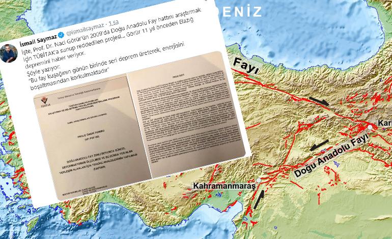 İsmail Saymaz, Prof. Dr. Naci Görür'ün Doğu Anadolu Fay hattını araştırmak için TÜBİTAK'a sunduğu projesinin reddedilmiş olduğunu açıkladı